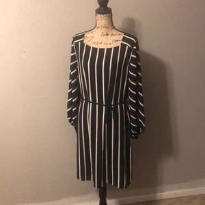 Loft Striped Long Sleeve Dress